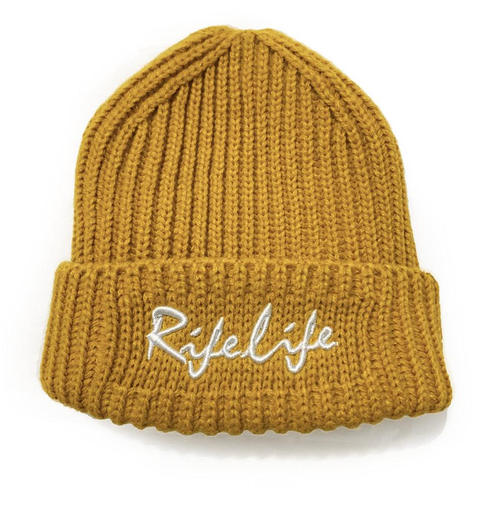Rifelife mustard Ribbed beanie Hat by Cut the Rife