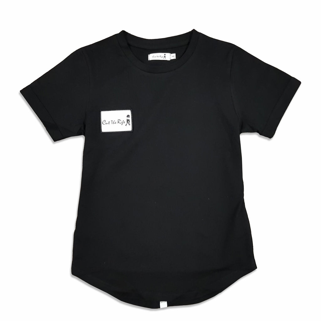 kids black longline t-shirt by Cut the Rife