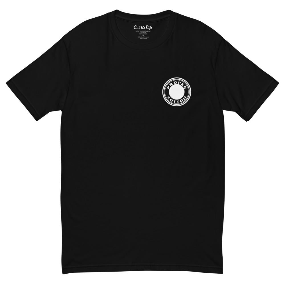 Proper Cotton T-shirt, black crew neck by Cut the Rife