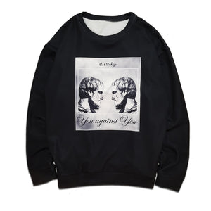 black you against you long sleeve crew neck sweatshirt  by cut the Rife