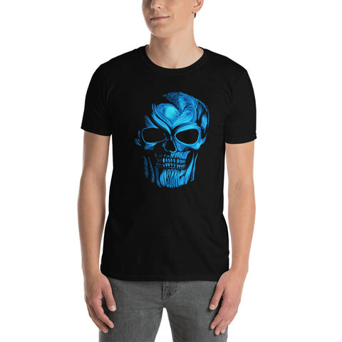 Men's Blue Skull Short-Sleeve T-Shirt
