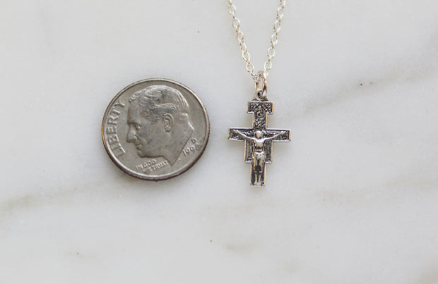 San Damiano Crucifix Necklace (sterling silver)