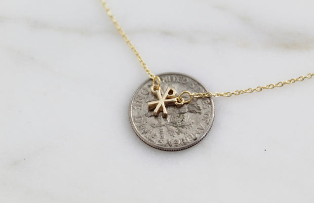 Chi Rho Necklace Solid 14K Gold