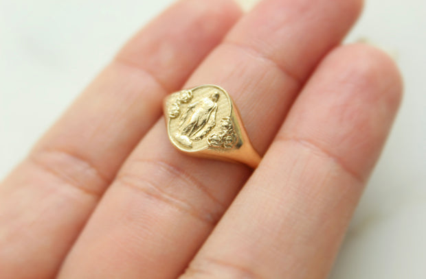 Miraculous Medal  Signet Ring *14k Gold*