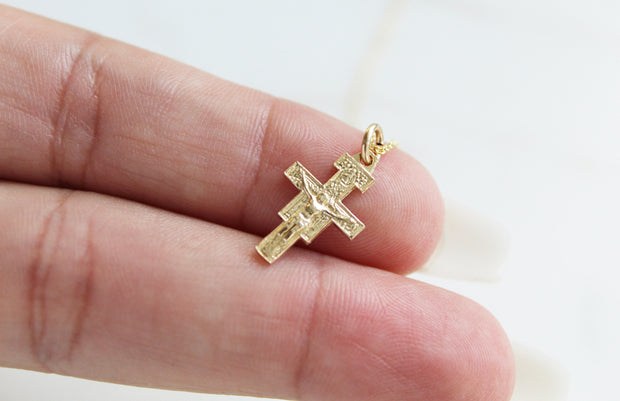 Damiano Crucifix Necklace 14K Gold
