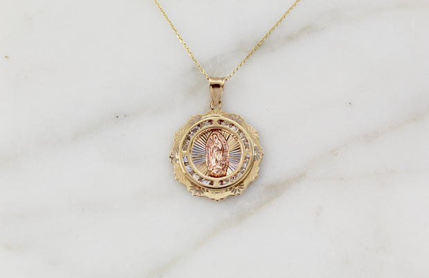 14k Gold Our Lady of Guadalupe necklace