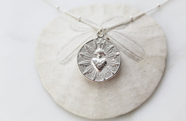 Sacred Heart Necklace (Sterling Silver)