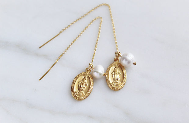 Miraculous Medal & Pearl threaders