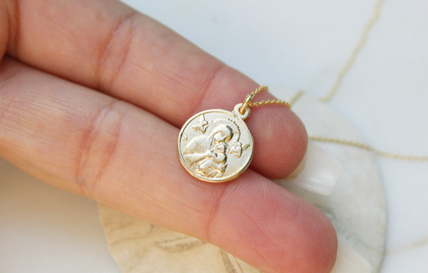 14k Gold Our Lady of Perpetual Help Necklace
