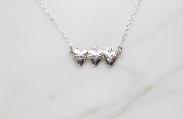 Holy Family Hearts (Sterling Silver)