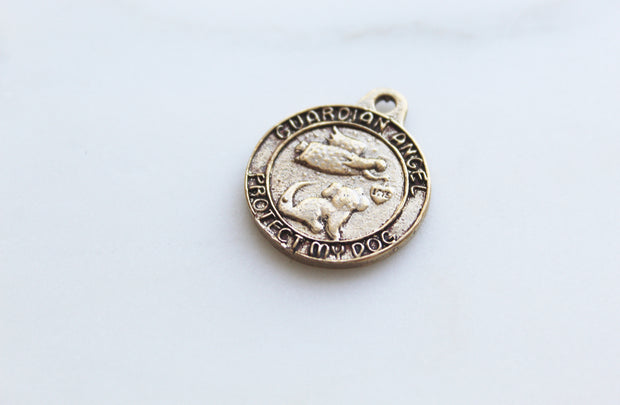 Dog Guardian angel collar coin