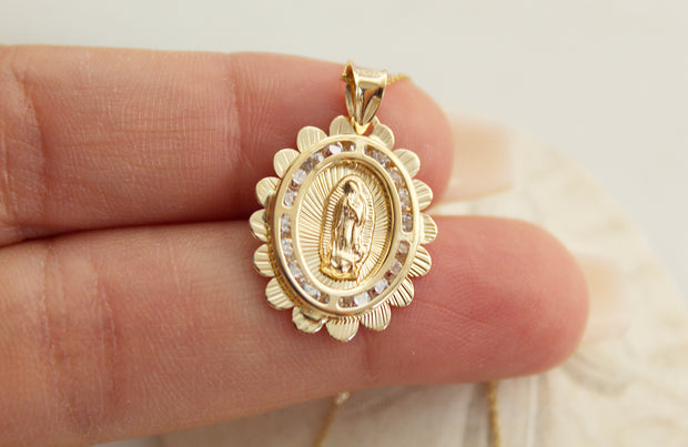 14k Gold Scalloped Our Lady of Guadalupe Necklace