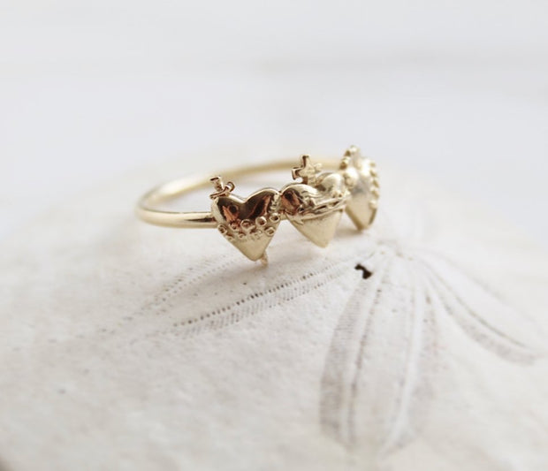 Holy Family Hearts Ring *Gold Vermeil*