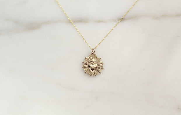 14k Gold Sacred Heart Necklace