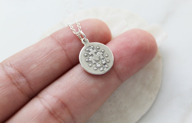 Round miraculous Medal (Oxidized Sterling Silver)