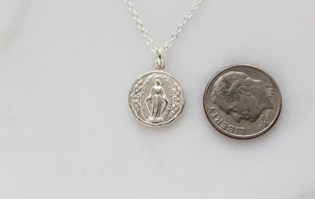 Round miraculous Medal (Sterling Silver)