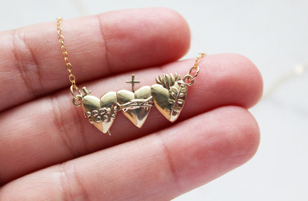 Holy Family Hearts Necklace