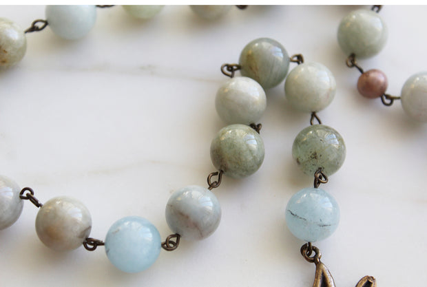 Maria Auspice aquamarine Rosary (ready to ship on 1/27)