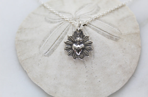 Scalloped Sacred Heart (Sterling Silver Oxidized version)
