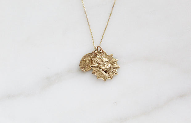 14K Gold Sacred Heart & Miraculous medal Necklace