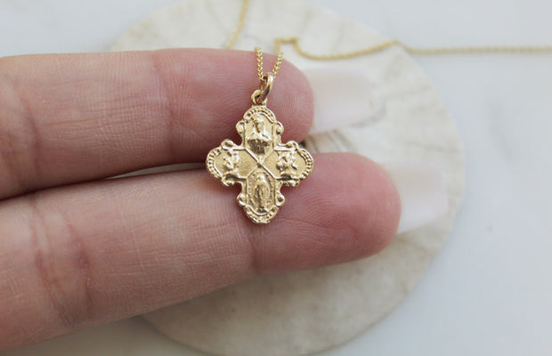 Four Way Cross 14K Gold