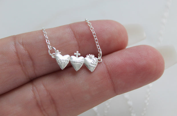 Tiny Holy Family Hearts (Sterling Silver)