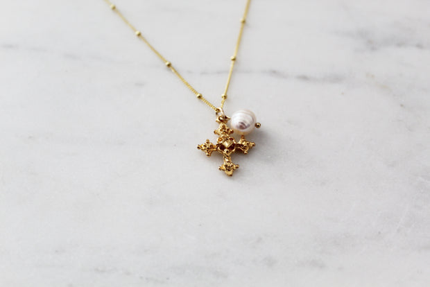 Coptic Cross & Pearl Necklace