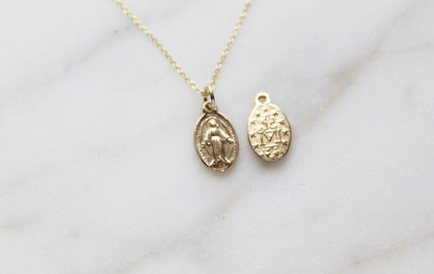 Gold Miraculous Medal necklace