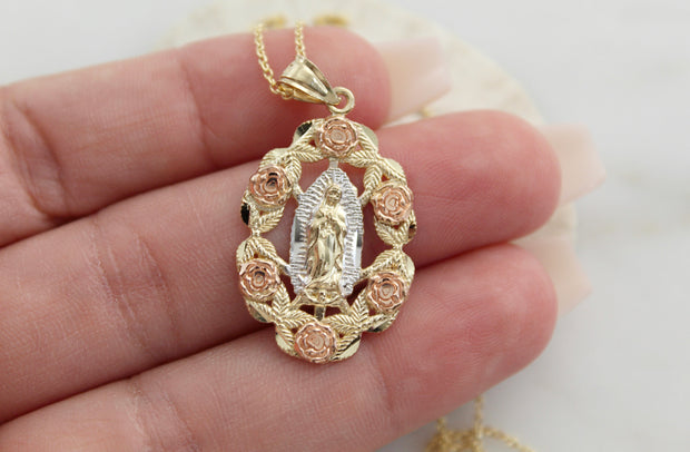 14k Gold Rose Our Lady of Guadalupe Necklace