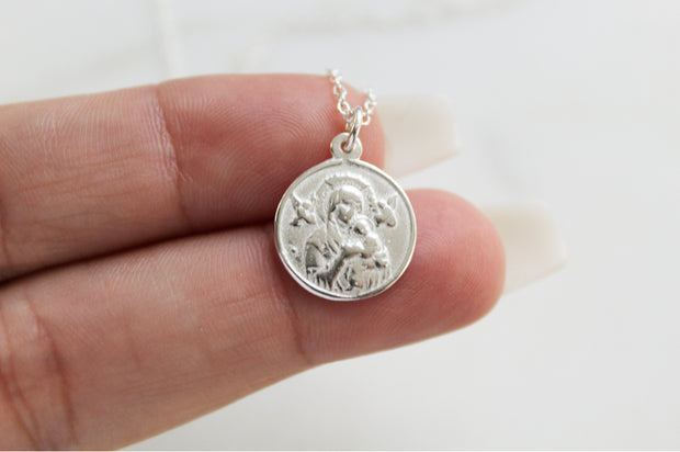 Our Lady of Perpetual Help Necklace (Sterling Silver)