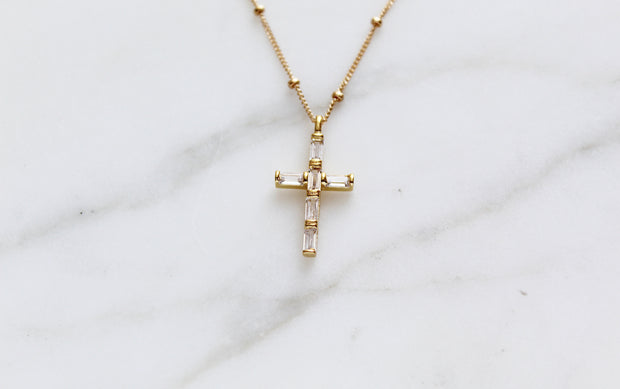 White Cubic Zirconia Cross