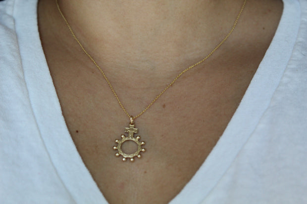 Rosary Bead Necklace 14k Gold