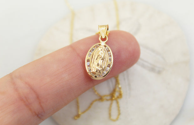 14k Gold tiny Our Lady of Guadalupe necklace