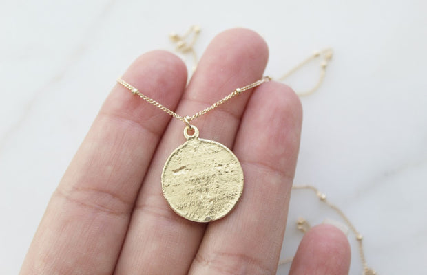14k Gold Sacred Heart Coin Necklace