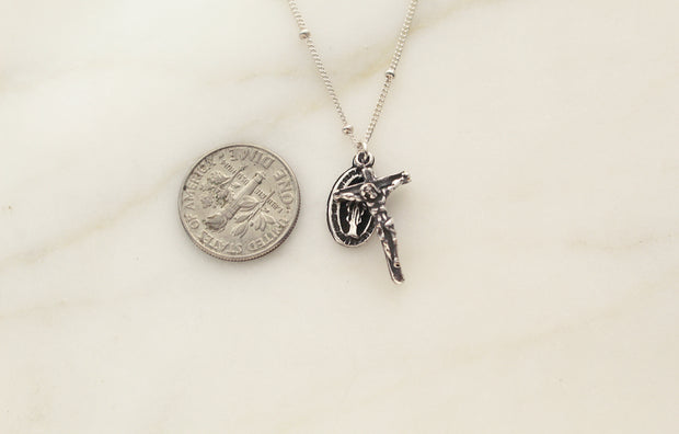 Miraculous Medal and Crucifix (Silver Version)