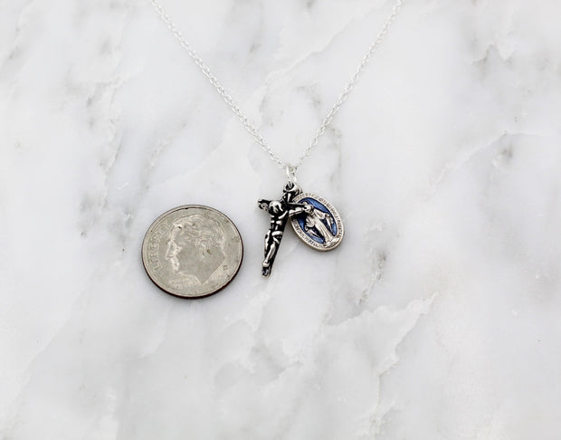 Miraculous Medal & Cross Necklace