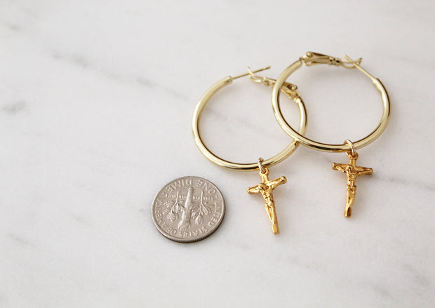 Crucifix Hoop Earrings