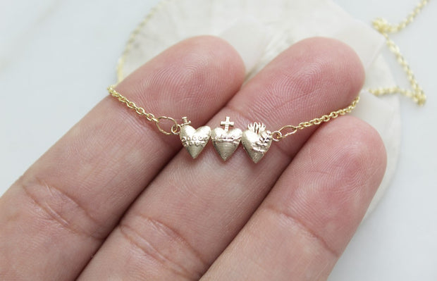 Tiny Holy Family Hearts 14k Gold