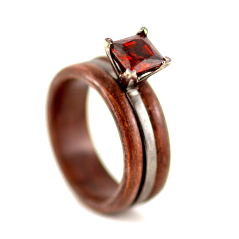 Ruby Wood RIng with Prongs