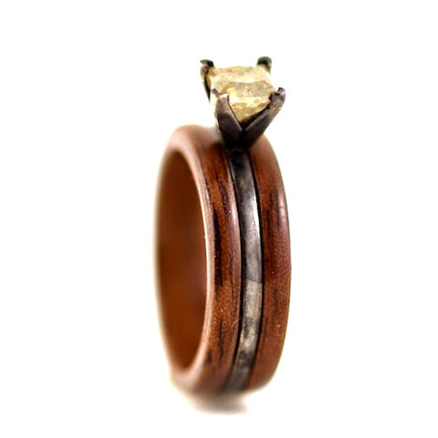 Custom Wood Ring with Provided Stone