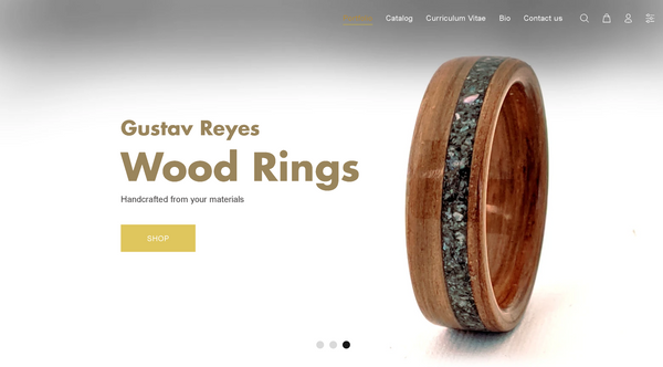 Gustav Reyes New Website Design with Wood Rings