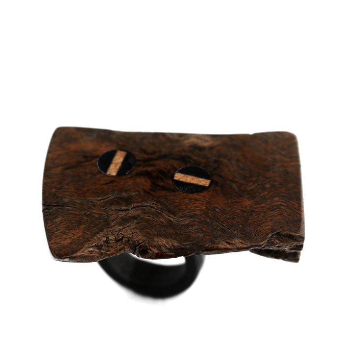 Two-Wedge Burl Redwood Ring
