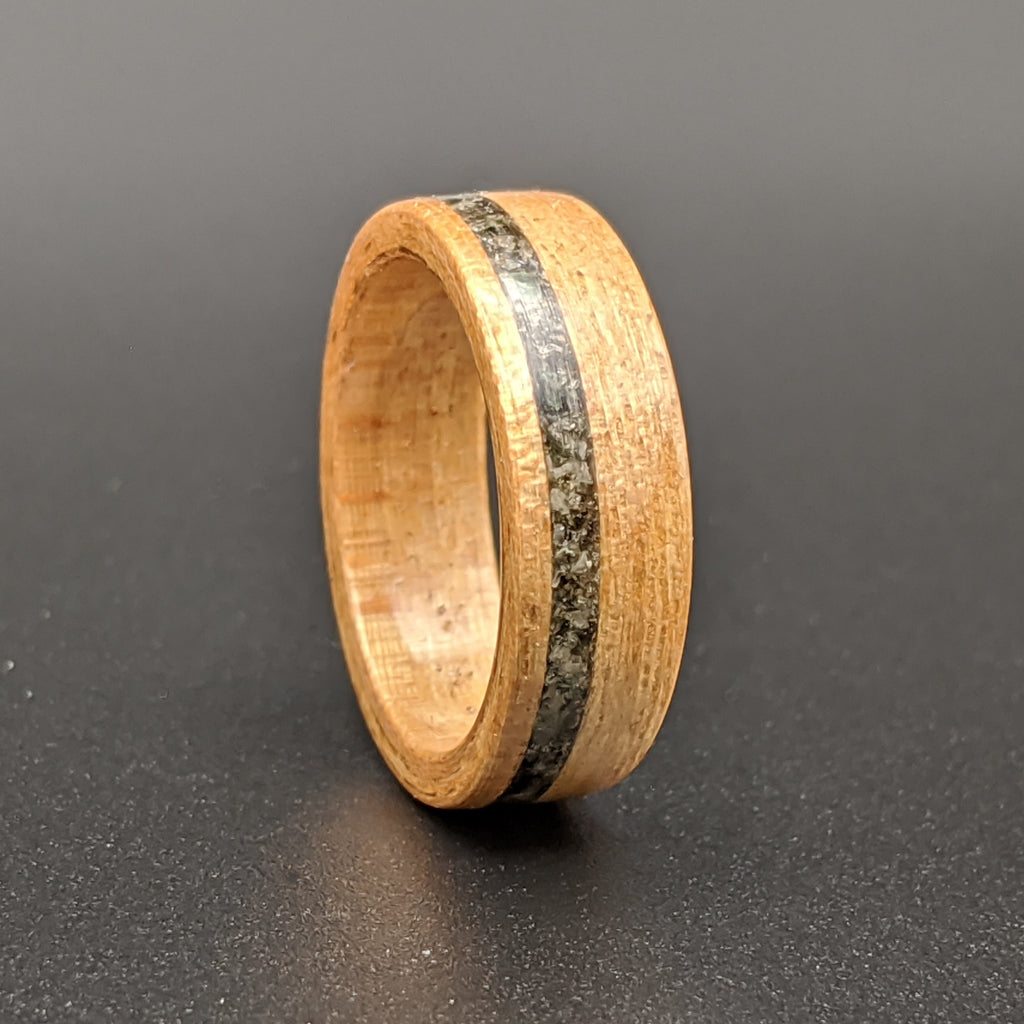 Hickory and Diamond Dust Inaly Wood Wedding Ring