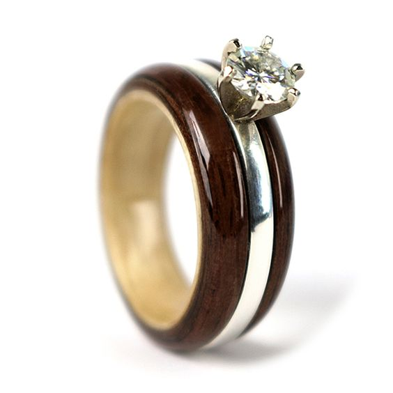 """Love is now"" Walnnut & Maple Wood Engagement Ring by Gustav Reyes"
