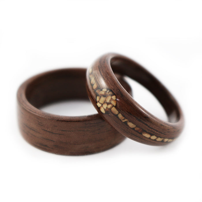 """Nuts about you"" Walnut Wood Wedding Set"