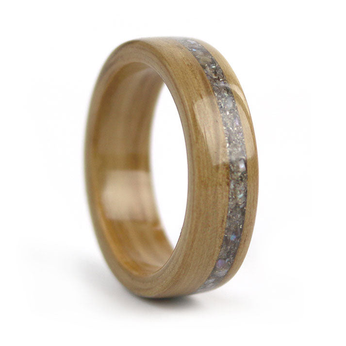 Oak Wood with Black Pearl inlay – June Birthwood Ring