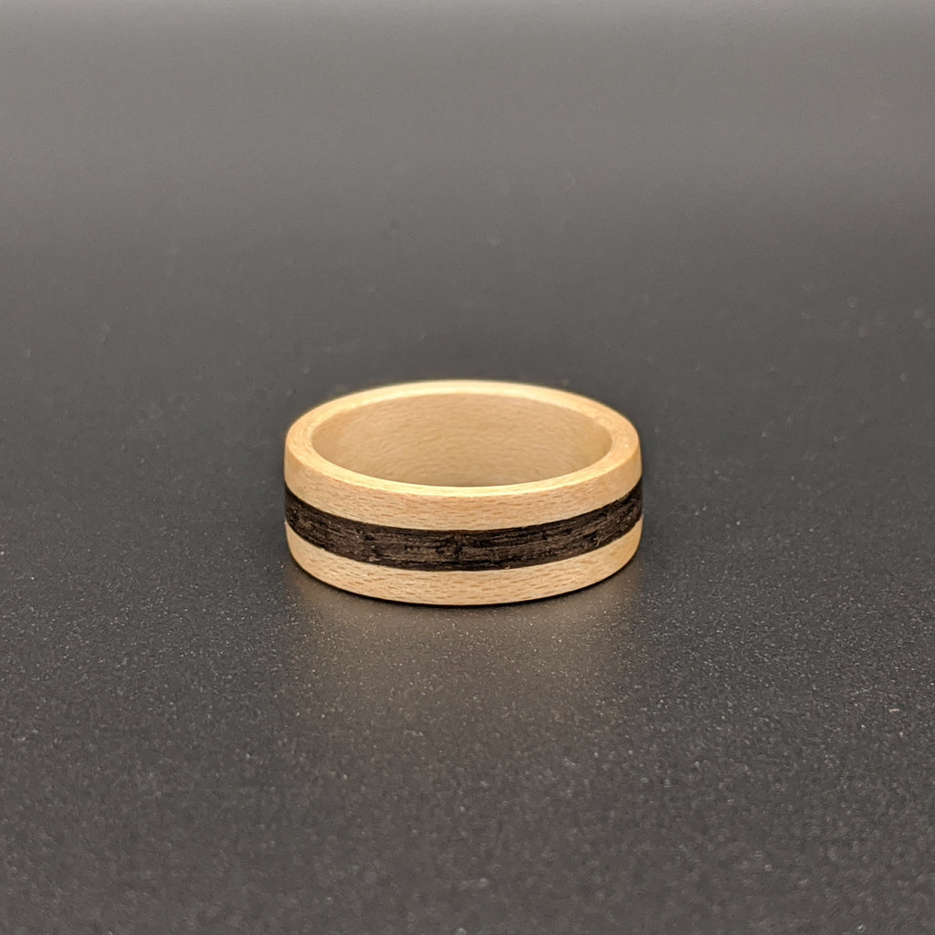 Bog Oak Wood Ring with Birch | Two Tone