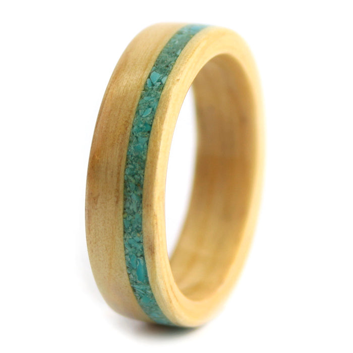 Pine Wood with Turquoise Inlay – December Birthwood Ring