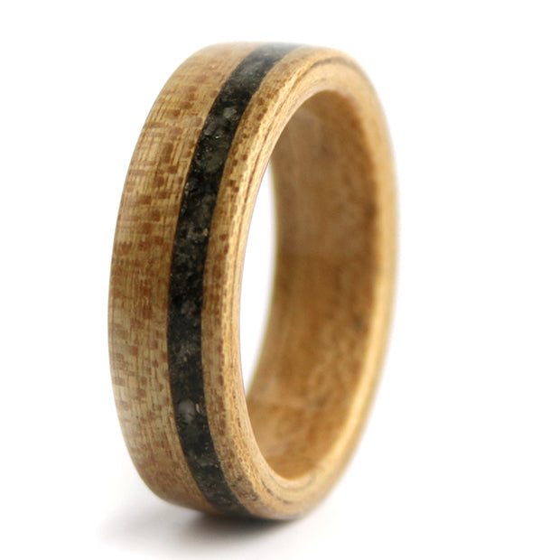Elm Wood with Raw Emerald birthstone Inlay – May Birthwood Ring
