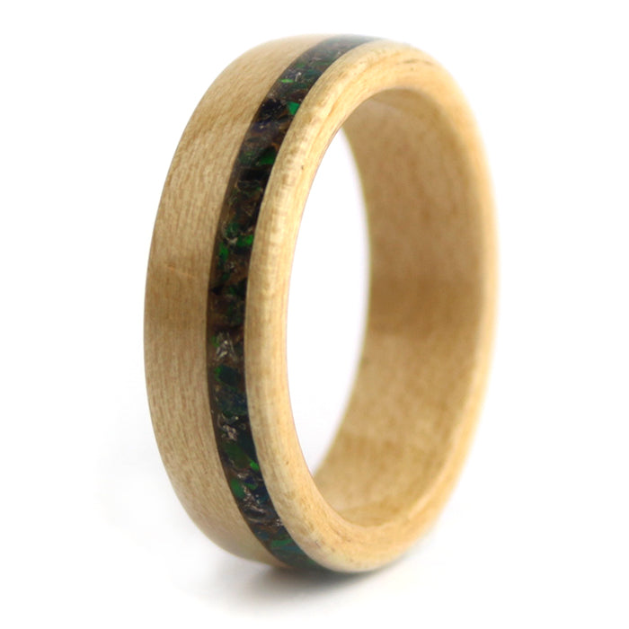Maple Wood with Opal birthstone Inlay – October Birthwood Ring